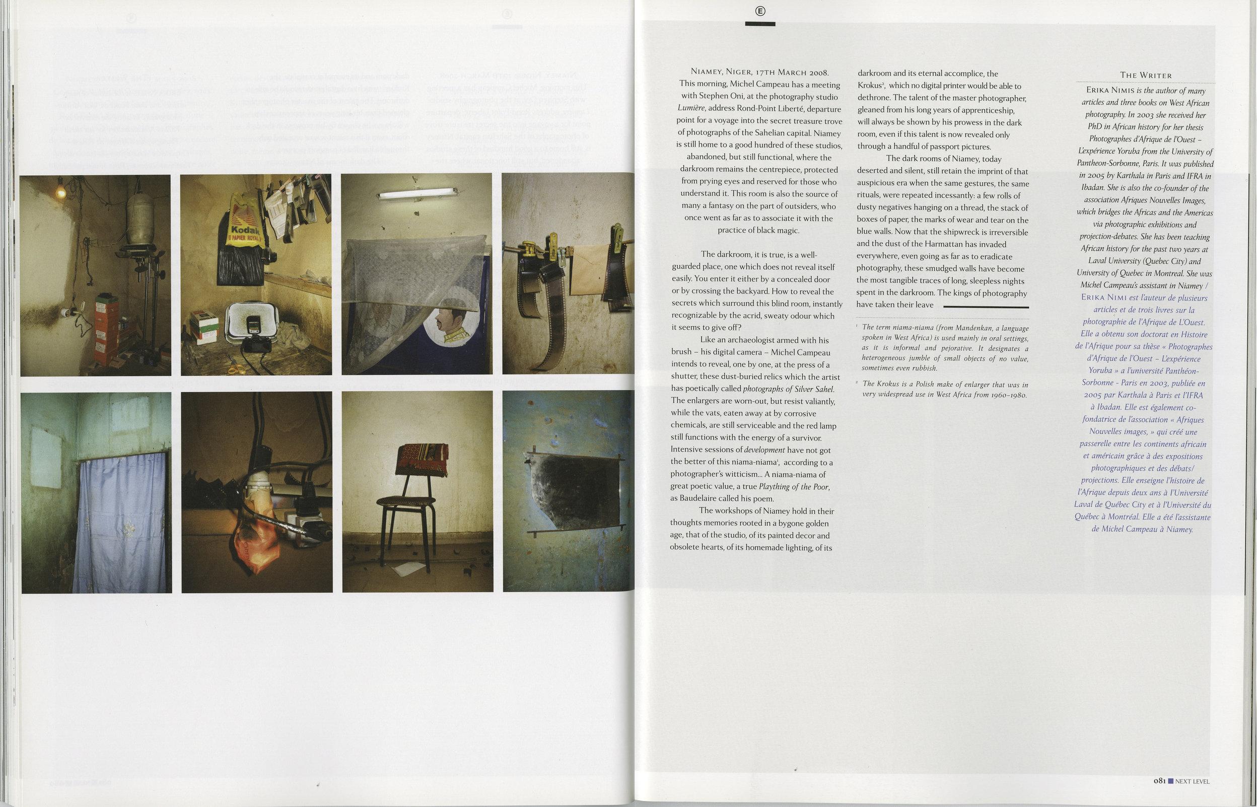 Studios and Darkrooms in Niamey , Niger Érika Nimis, Next Level Magazine, London, UK, July 2009