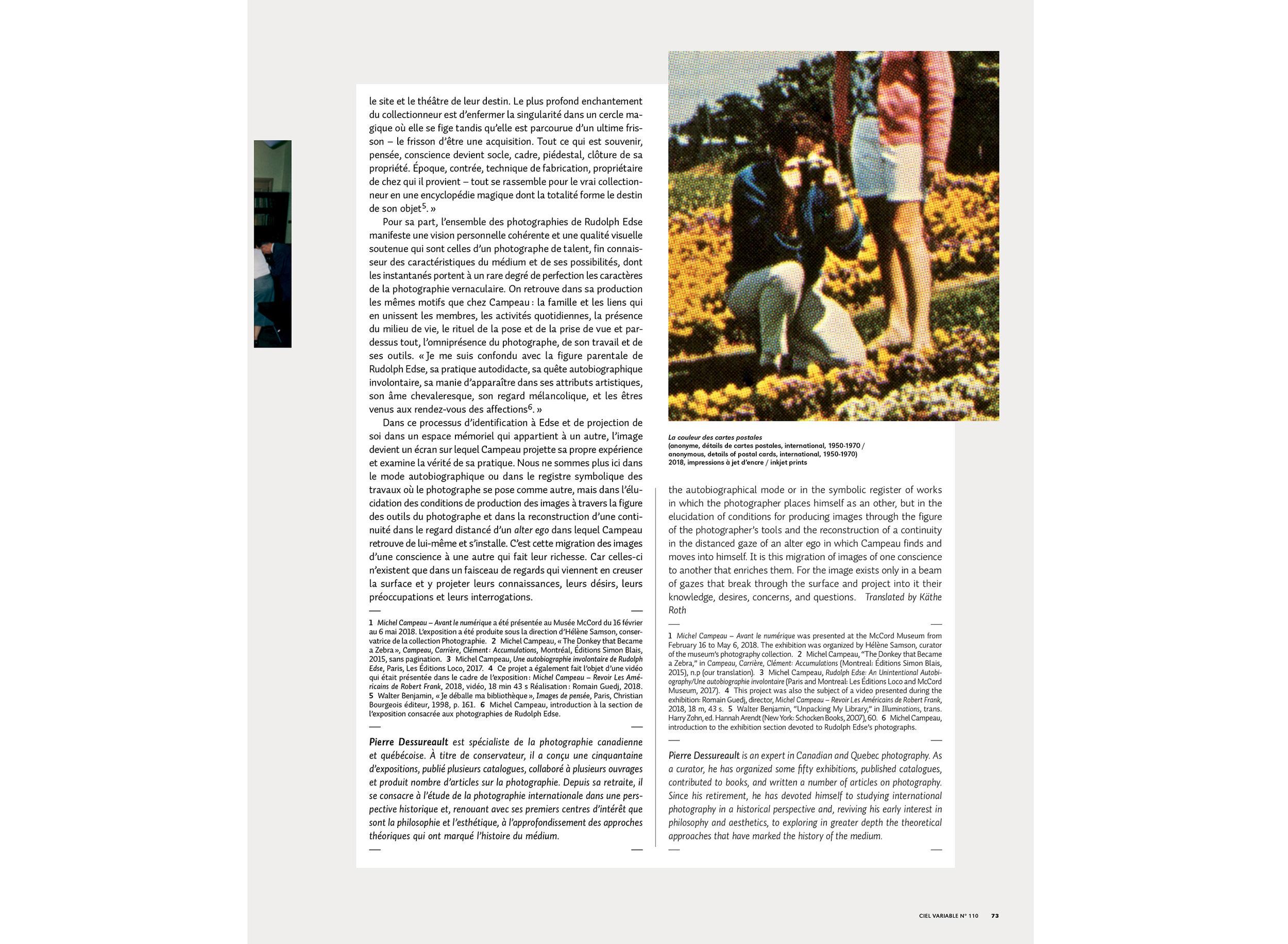 Michel Campeau : la photographie, le photographe, le collectionneur  Texte de Pierre Dessureault, Ciel Variable, n° 110, Automne-Hiver 2018, p. 66-73 Pour télécharger le PDF de l'article :  https://delivery.shopifyapps.com/-/2ddca88cd82bba0a/985a7affcf7ddfcb
