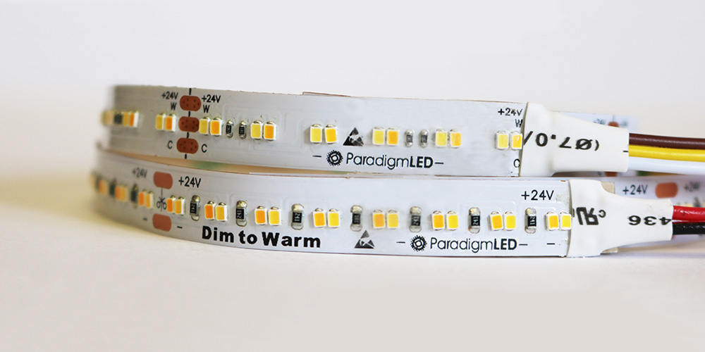 ChromaFlex WarmDim allows you to mix white color temperatures as you vary the output.  It is available in a 3 wire DMX version as well as a 2 wire standard dimming version.