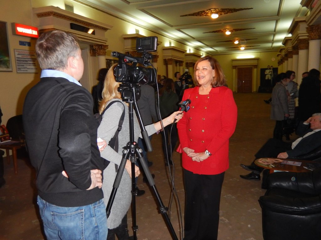 Sharon being interviewed at the opening night of the American Independent Film Festival in Kiev sponsored by the U.S. State Department and American Film Showcase.