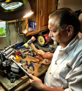 Ken working in his shop creating another handcrafted one of a kind piece.