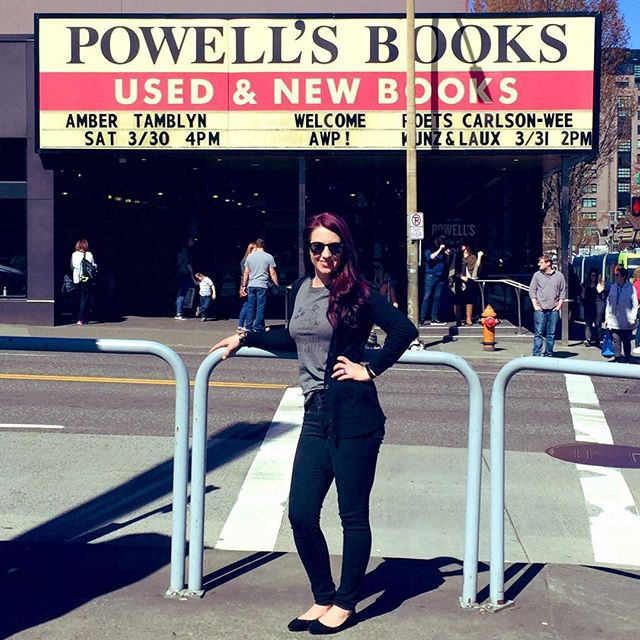 """This is my """"just did some damage at Powell's"""" pose"""