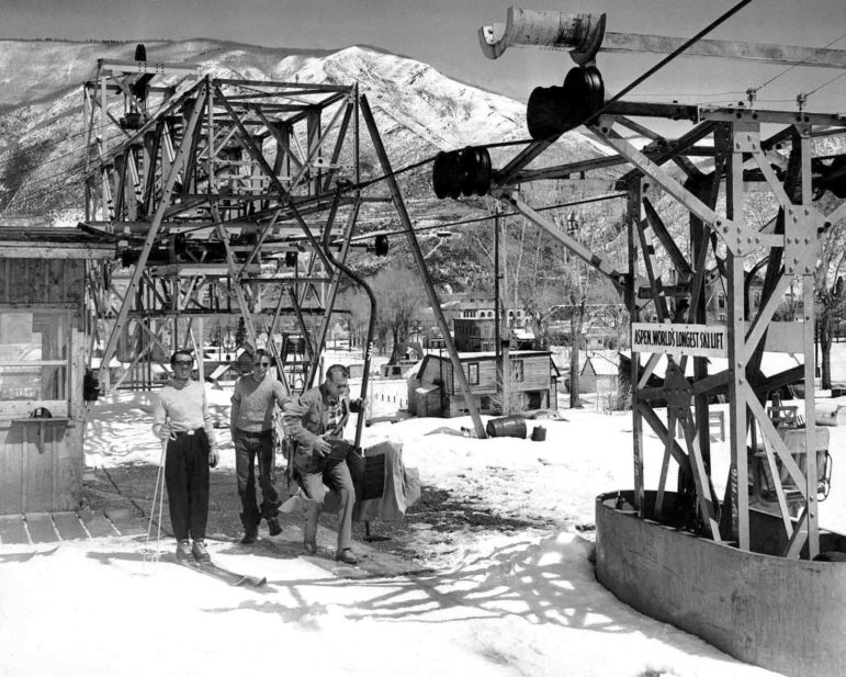 Gary Cooper loading onto the original Lift 1 (Image: Aspen Historical Society)