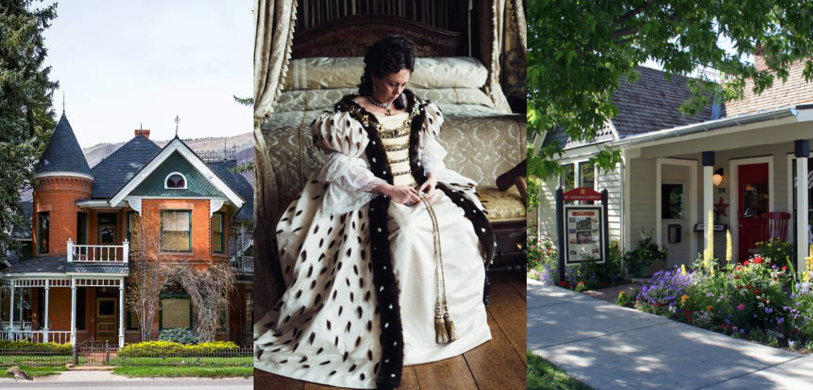 "Left:    Sardy House ($23M)    Center:    Olivia Coleman as Queen Anne in ""'The Favourite'    Right: a         Queen Anne Cottage for sale."