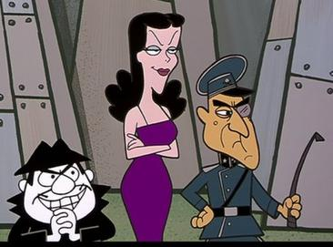Boris Badenov, Natasha Fatale and Fearless Leader  © Ward Productions, Inc.  ROCKY & BULLWINKLE and all Ward characters, their logos, names and related indicia are trademarks of and copyrighted by Ward Productions, Inc.  Licensed by Bullwinkle Studios, LLC. DreamWorks Classics. All rights reserved.