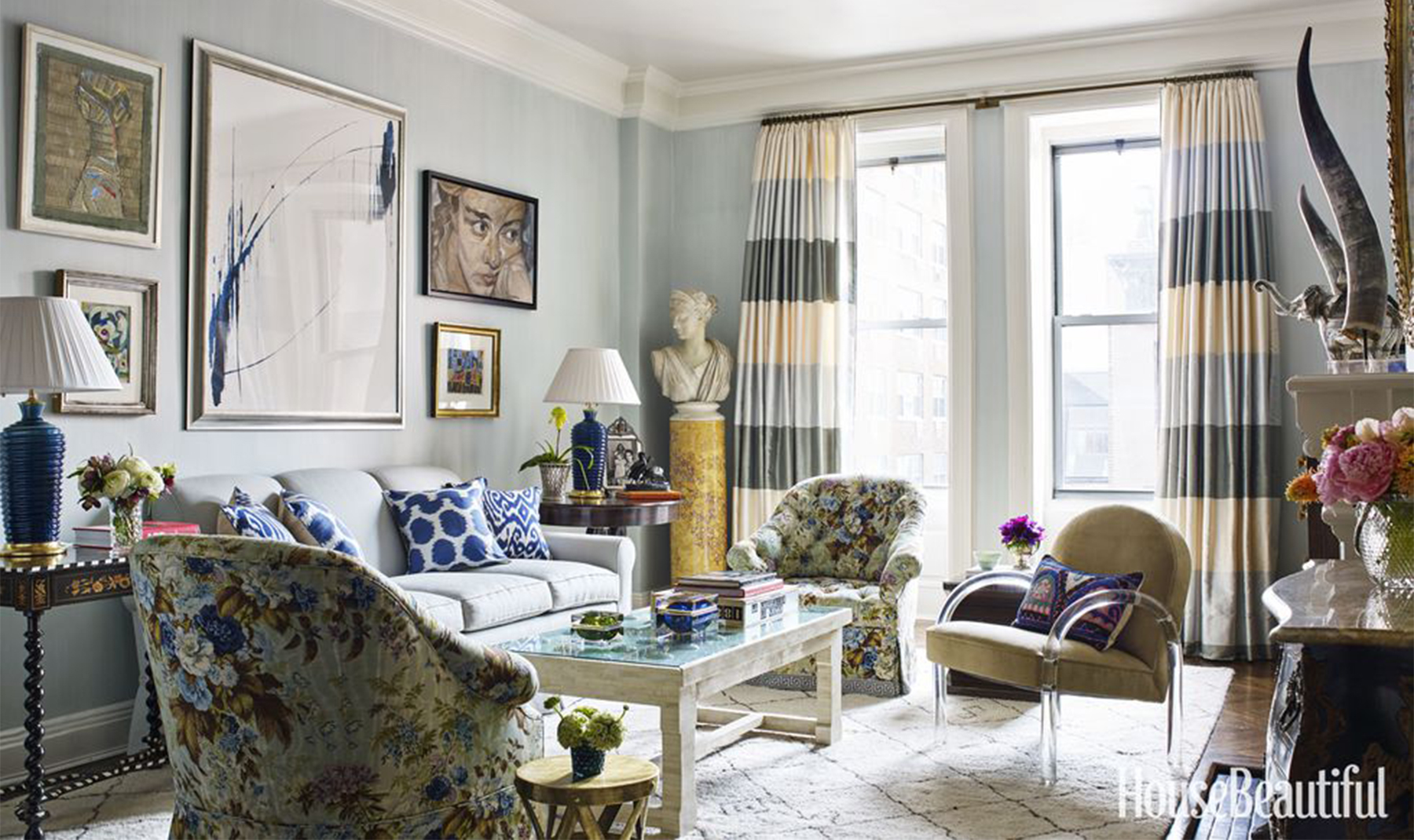 """8 Style Rules From the """"First Couple"""" of Decorating  House Beautiful - July 2015"""