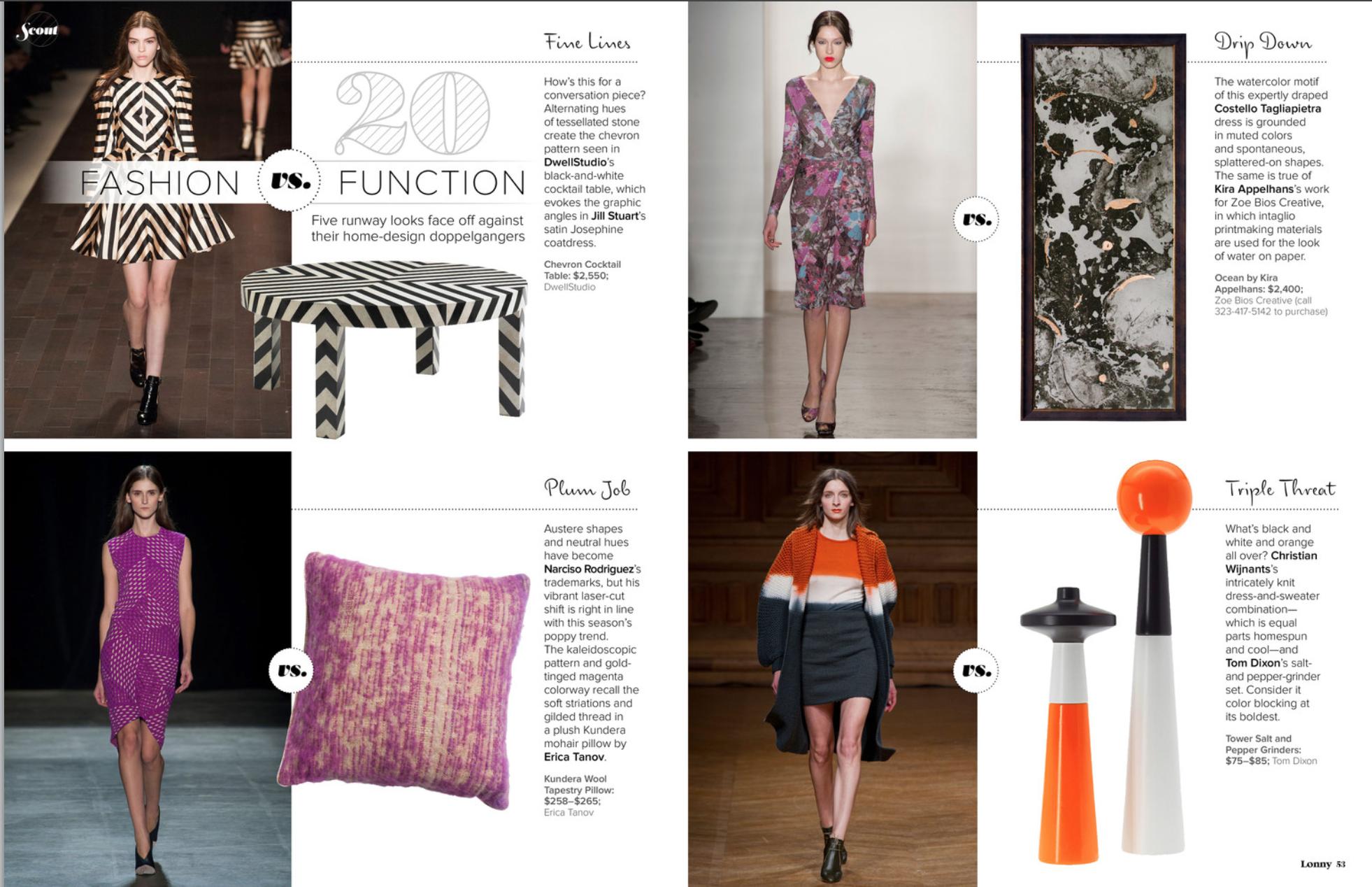 Fashion vs. Function  Lonny Magazine - September 2013