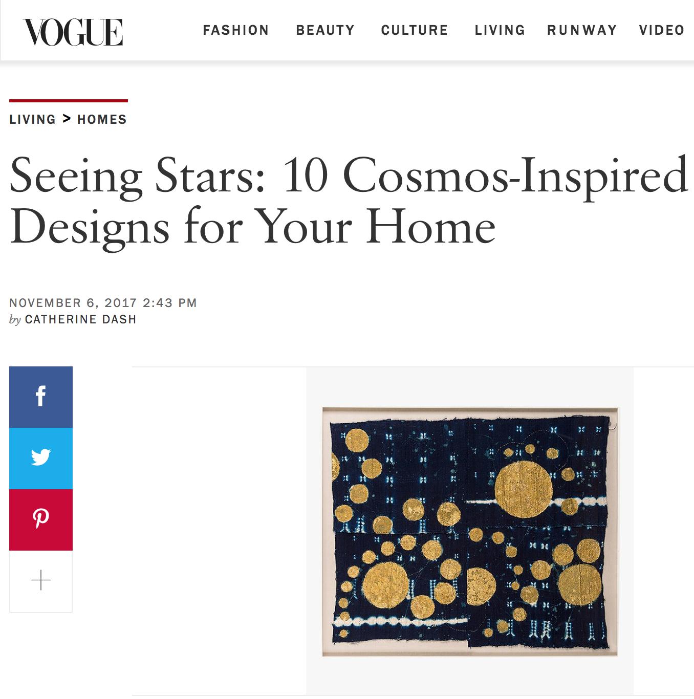 10 Cosmo-Inspired Designs for Your Home  Vogue.com - November 2017