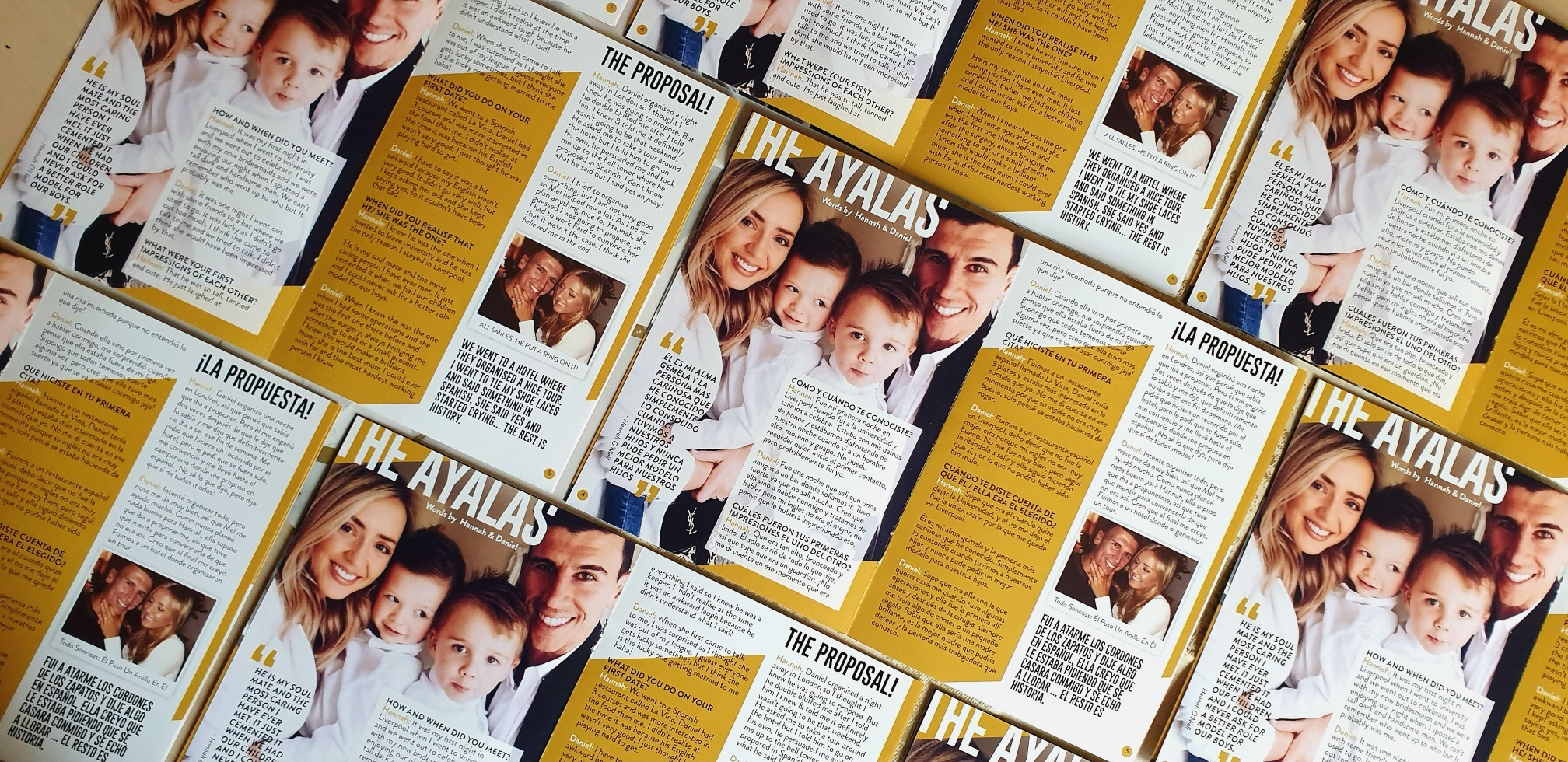 The Ayala's: English and Spanish versions of their feature story in Dapper & Bride