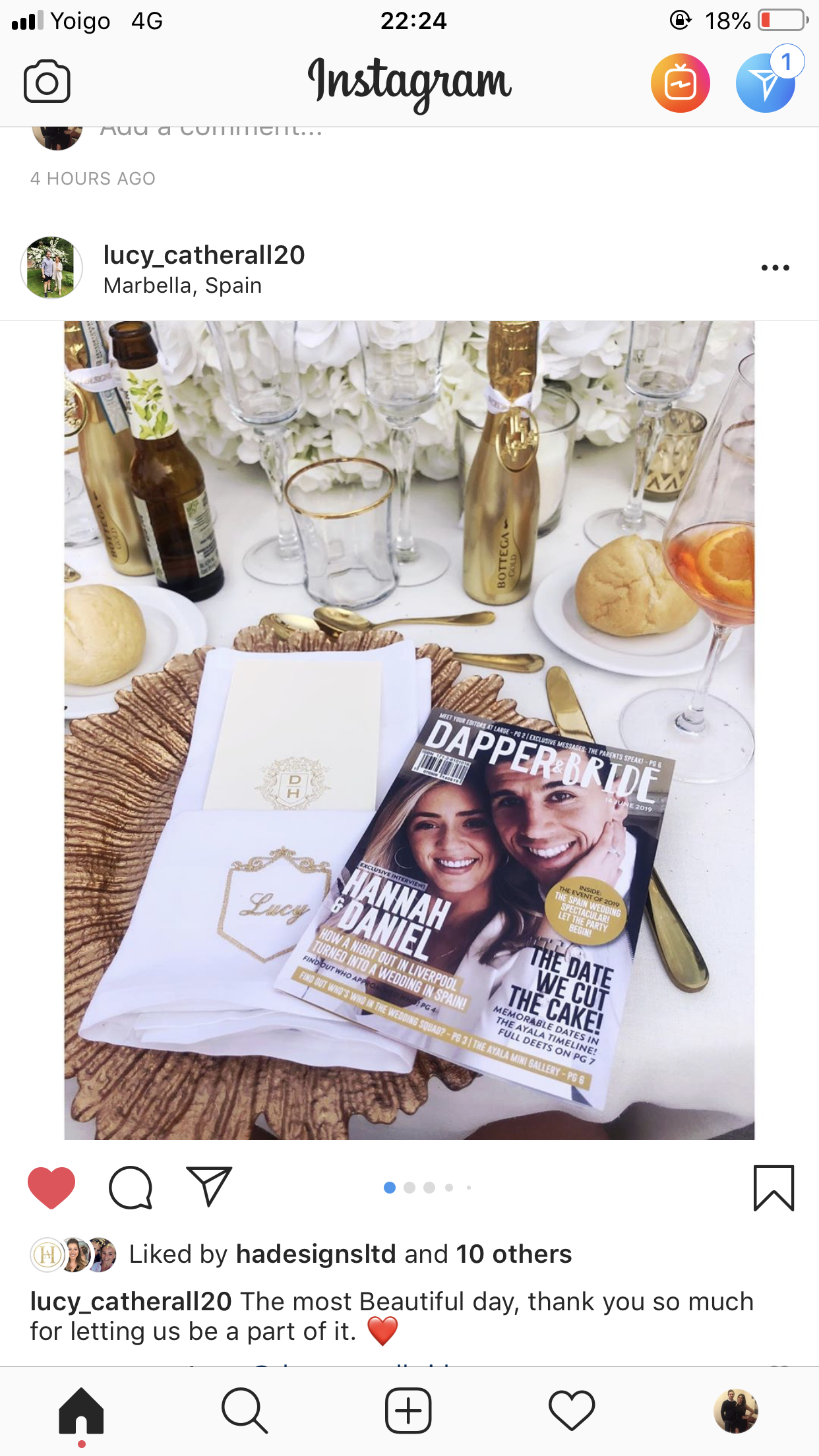 Hannah and Daniel Dapper & Bride Personalised Wedding Magazine Wedding Table Instagram Post2.png
