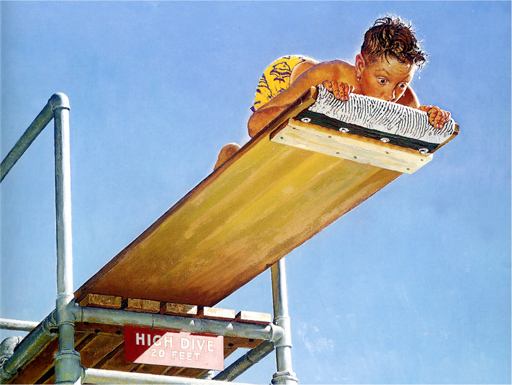 Boy on High Dive by Norman Rockwell