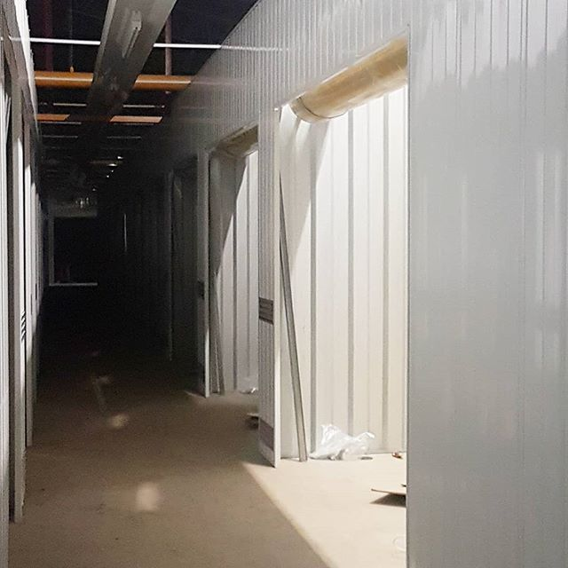 Another late night but we have the doors in and up not to long  now. #latenight #worklife #workethic #getitdone #drive #coldnights #storage #steel #getinspired #workhard #believe #almostthere #almostdone