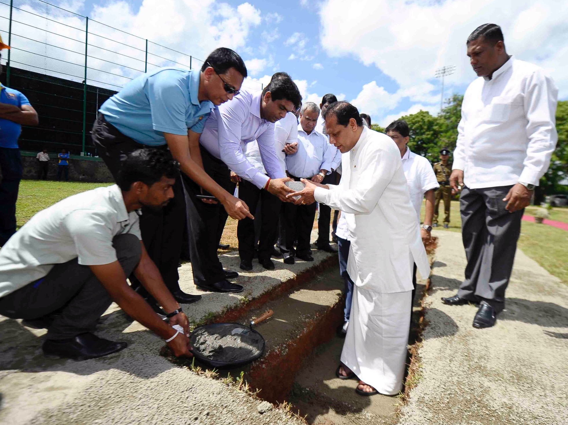 The laying of a foundation stone would take place in a carefully timed ceremony in India. Here begins a cricket facility in Dambulla