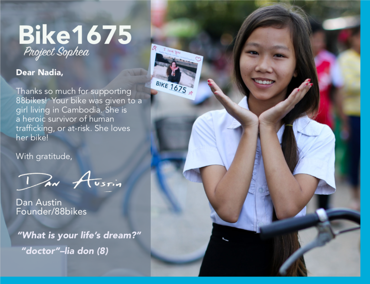 Sample card that donors receive once their gift of a bike is delivered to a heroic girl.