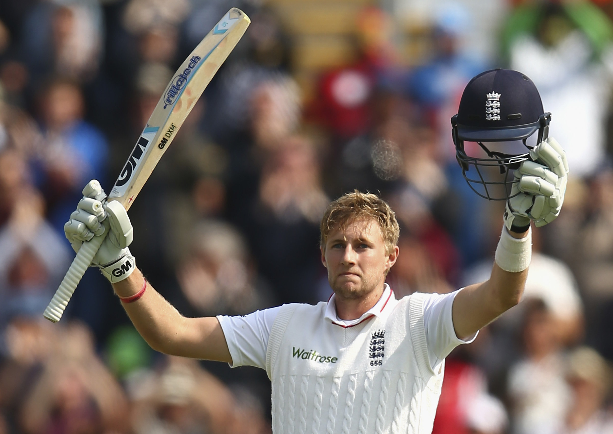 Joe Root celebrates after reaching his century during day one of the 1st Investec Ashes Test match between England and Australia at SWALEC Stadium on July 8, 2015 in Cardiff, United Kingdom