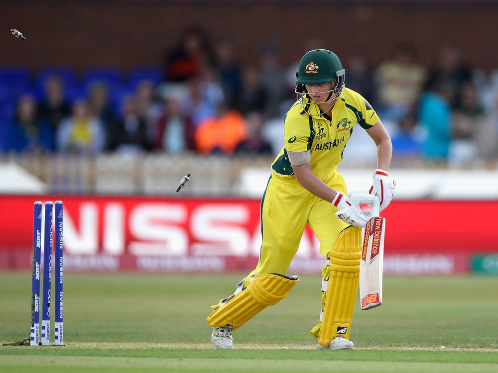 Meg Lanning is bowled for 0 during the ICC Women's World Cup 2017 Semi-Final match between Australia and India