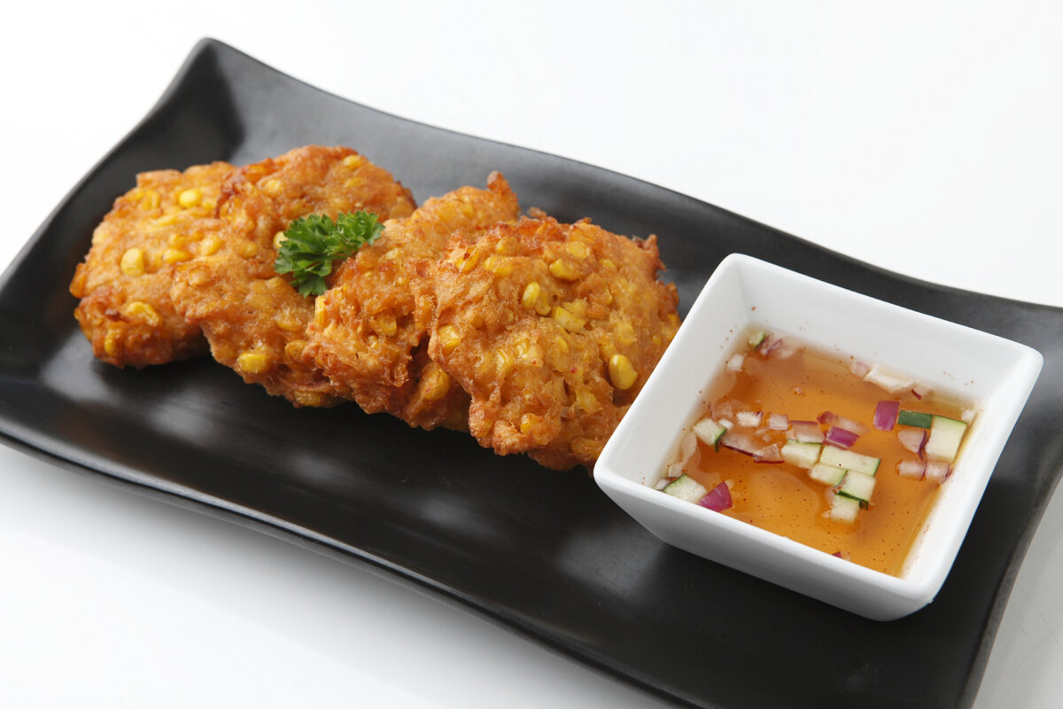 Sweet Corn Fritters - Fresh sweet corn kernels mixed in a batter with Thai curry paste