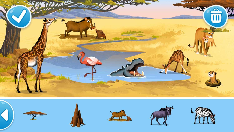 Savannah animals, illustrated by Dan Hood