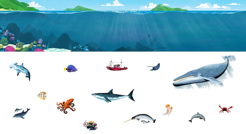 Finalized art for Ocean Animals