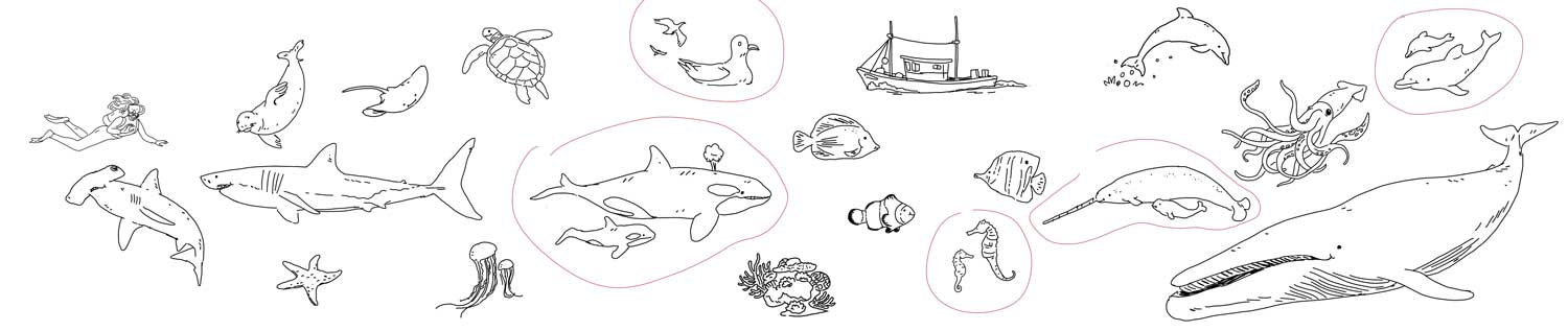 Background and stickers sketches for Ocean Animals
