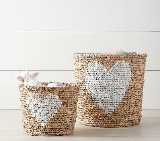 raffia heart baskets