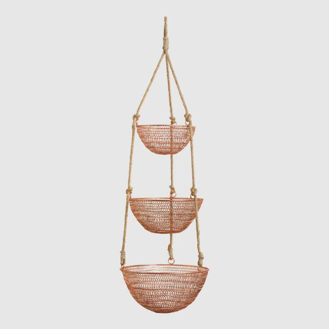 World Market copper/rope baskets