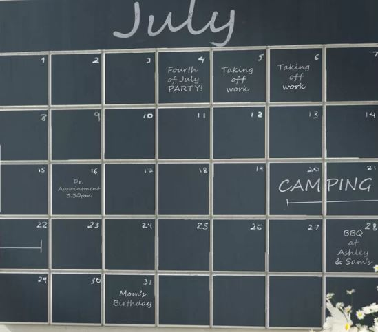 calendar chalkboard organizer