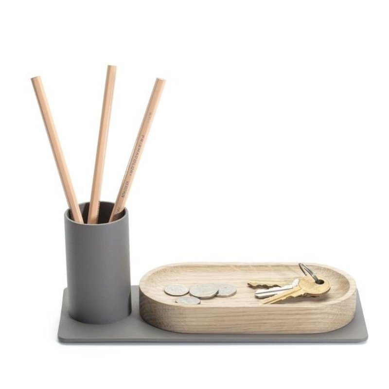cody oak desk organizer