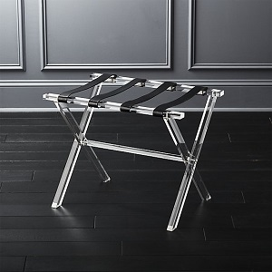 CB2 acrylic/leather rack