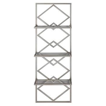 geometric iron/glass bookcase