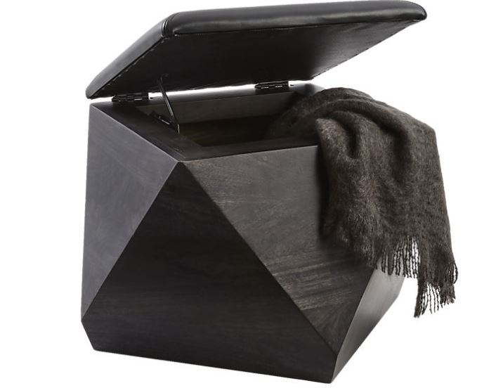 hex leather ottoman