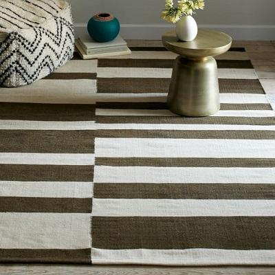 offset stripe wool dhurrie