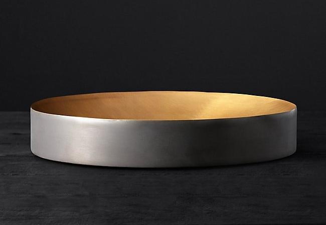 black & brass vessel tray