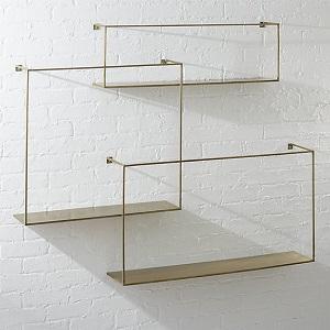 cB2 Antiqued brass shelves