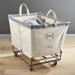 steel rolling laundry basket