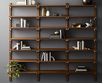 CB2 Walnut triple shelf