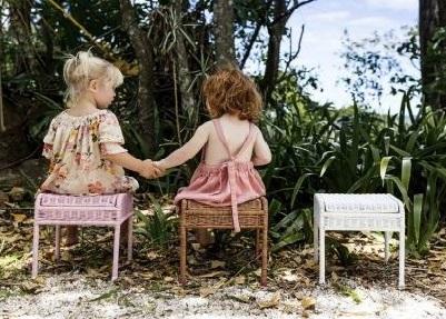 handwoven rattan stool in colors
