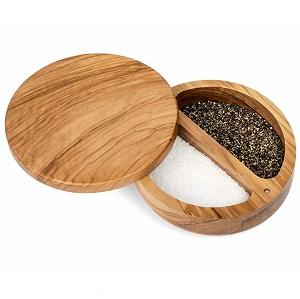 Hudson Essentials Olive Wood salt box