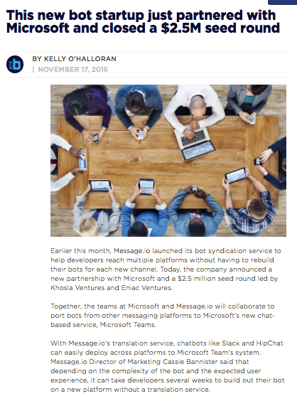 I worked with Built in Austin a few times to feature Message.io in their news!
