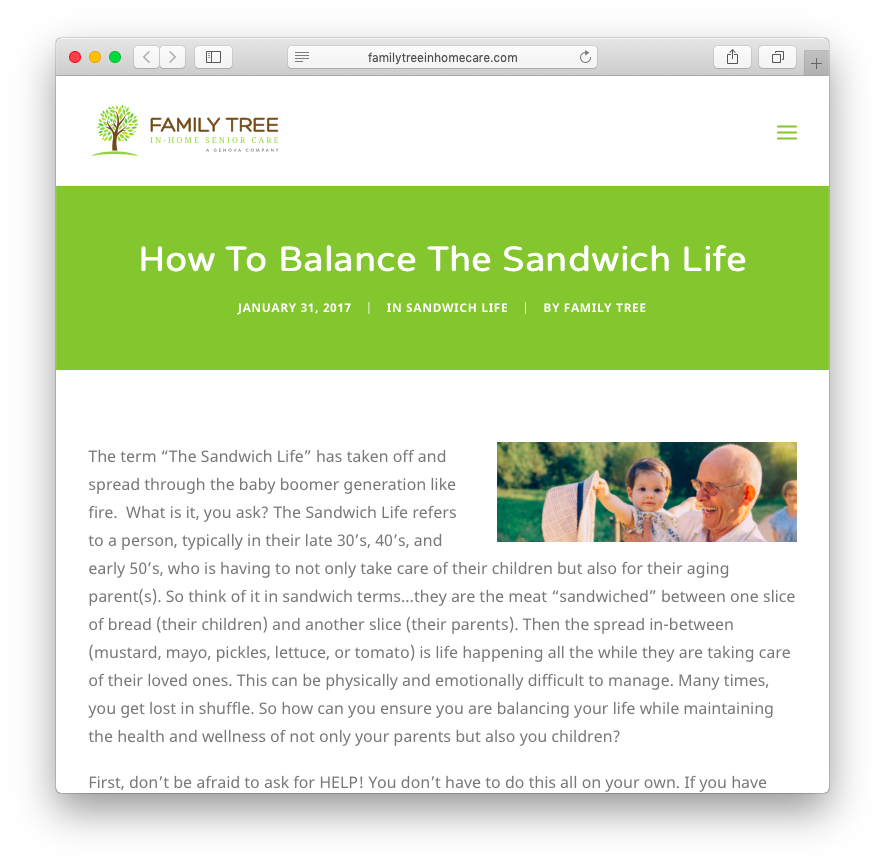Family Tree In-Home Senior Care | How To Balance The Sandwich Life