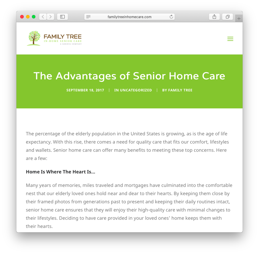 Family Tree In-Home Senior Care | The Advantages of Senior Home Care