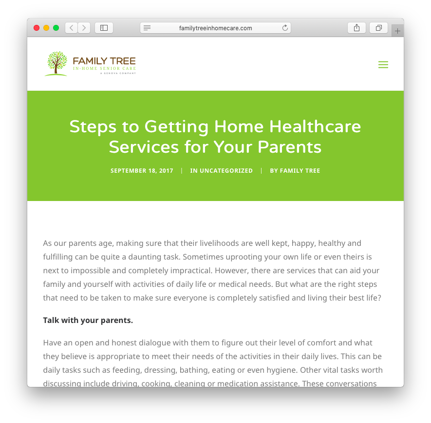 Family Tree In-Home Senior Care | Steps to Getting Home Healthcare Services for Your Parents