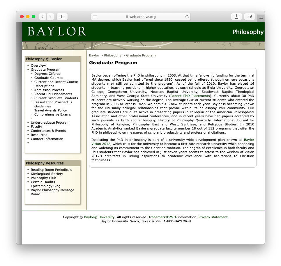 Baylor University | Department of Philosophy | Graduate Program Overview