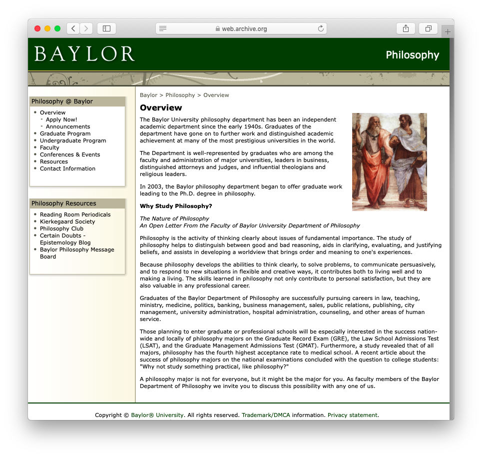 Baylor University | Department of Philosophy | Department Overview