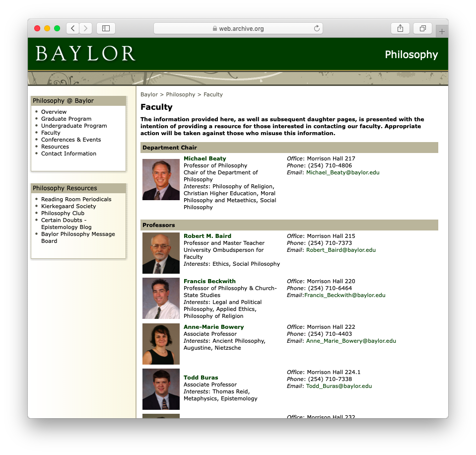 Baylor University | Department of Philosophy | Individual Faculty Pages