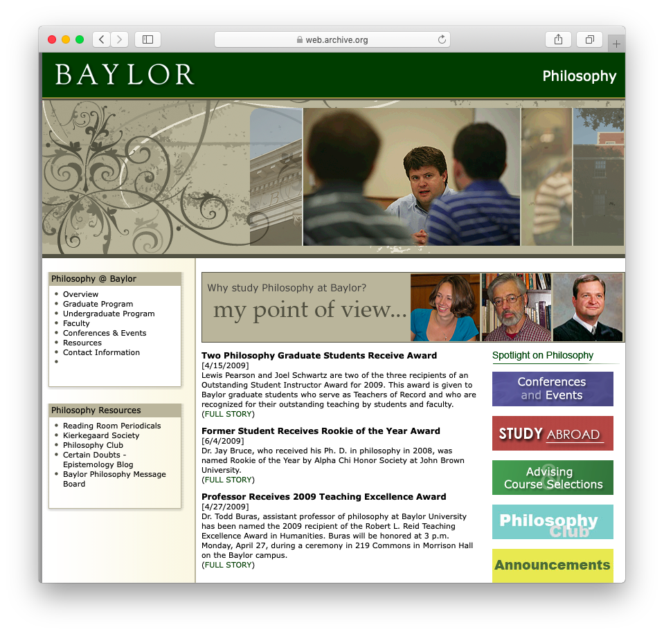 Baylor University | Department of Philosophy | Homepage