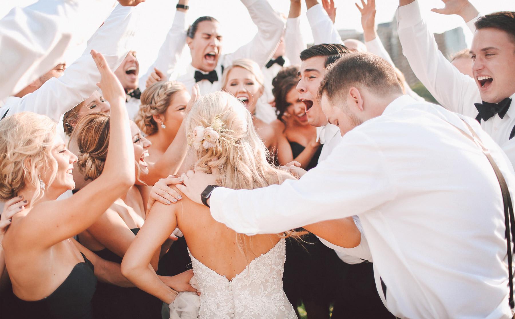 14-Minneapolis-Minnesota-Wedding-Photography-by-Vick-Photography-Aria-Downtown-Industrial-Wedding-Party-Group-Hug-Nikki-and-Scott.jpg