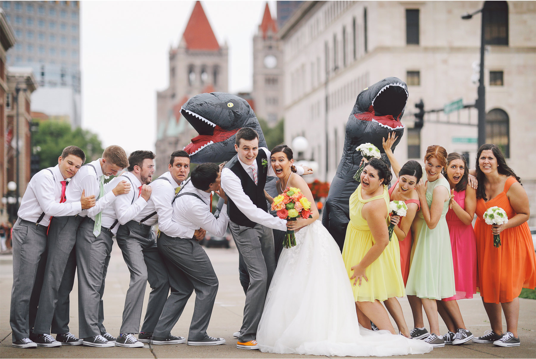 11-St-Paul-Minnesota-Wedding-Photography-by-Vick-Photography-Science-Museum-Dinosaur-Wedding-Group-Wedding-Party-Dinosaur-Chase-Stephanie-and-Scott.jpg
