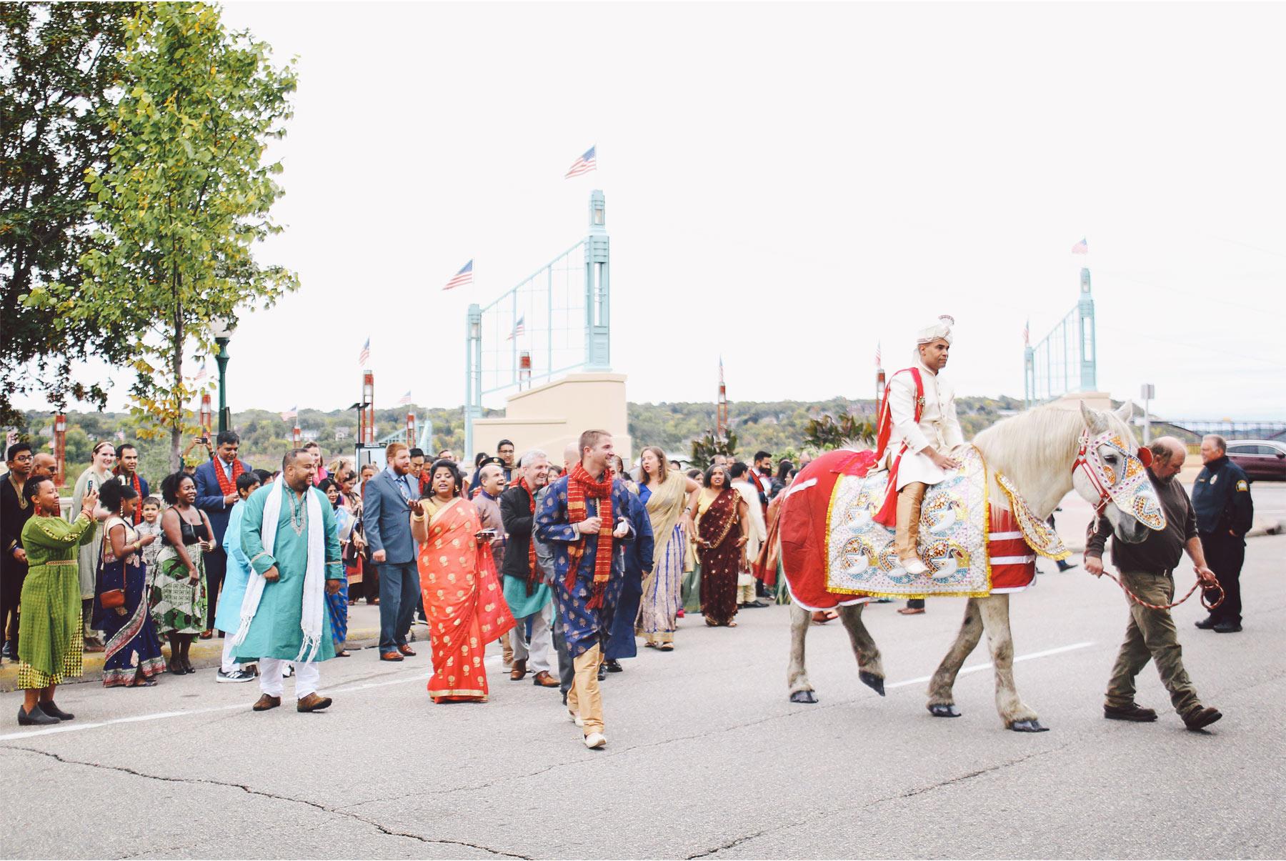 03-St-Paul-Minnesota-Wedding-Photography-by-Vick-Photography-Intercontinental-St-Paul-Riverfront-Traditional-Indian-Wedding-Baraat-Horse-Groom-Leena-and-Michael.jpg