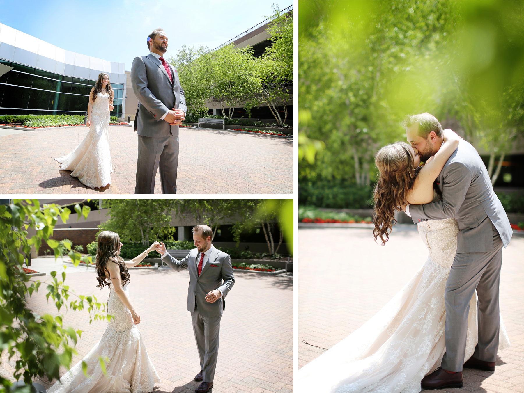 04-Minneapolis-Minnesota-Wedding-Photographer-by-Andrew-Vick-Photography-Summer-Edina-Westin-Hotel-First-Meeting-Look-Courtyard-Groom-Bride-Kiss-Twirl-Dress-Natalie-and-Andrew.jpg